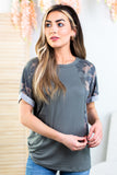 Cadence Colorblock Camo Top