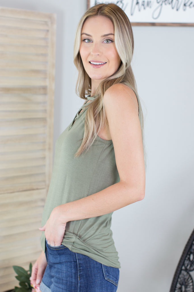 Crossed The Line Sleeveless Top - 4 Colors
