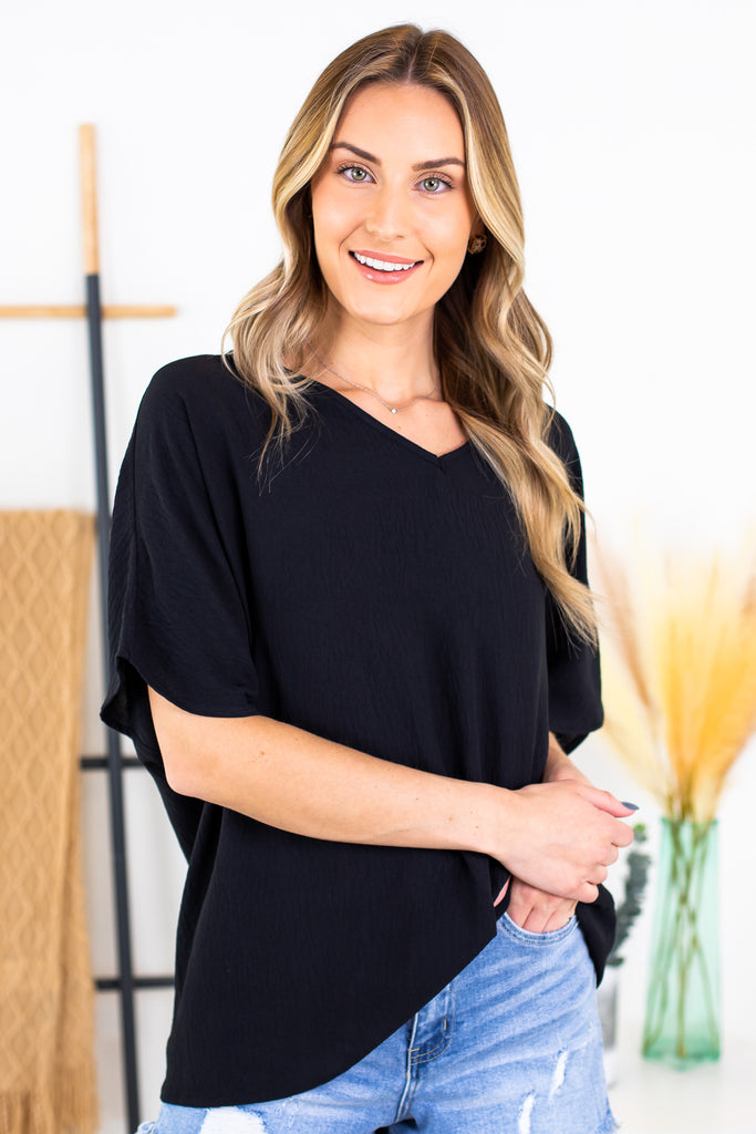 Samantha V Neck Top- Black
