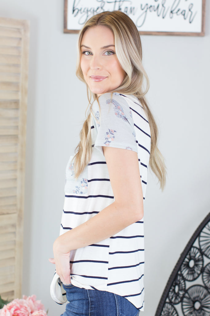 Willow Striped Pocket Top