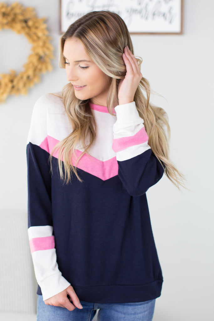 Billie Chevron Colorblock Top