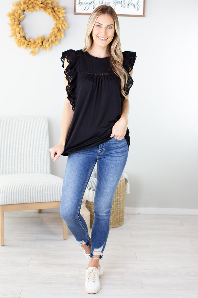 Kori Crochet Sleeve Top