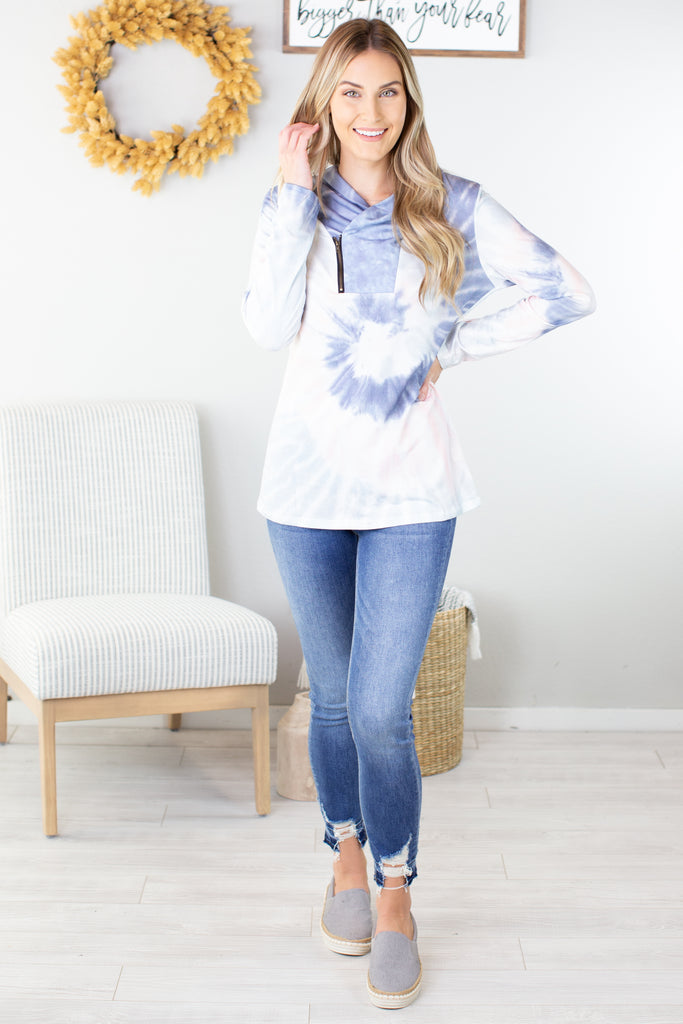 Tie Dye Zipper Accent Pullover