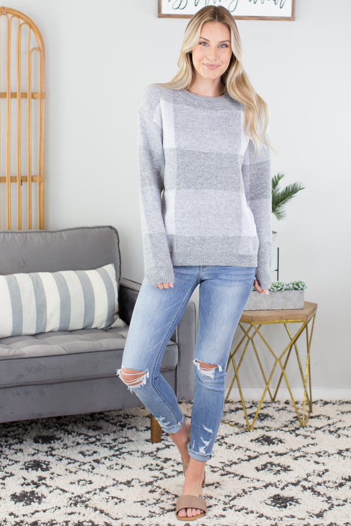 Wonderland Plaid Knit Sweater