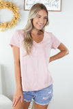Mineral Washed V Neck Top - 2 Colors