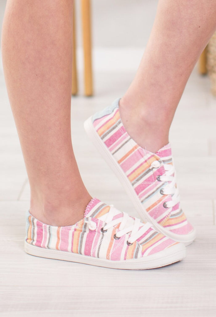 Summer Lovin Striped Tennis Shoe