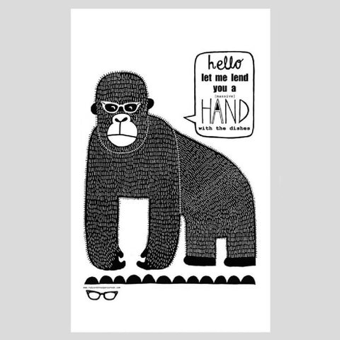 gorilla tea towel by ruby and the paper parade