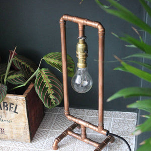Copper Pipe Lamp with Edison Bulb 'Rectangle'