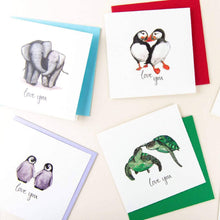 Load image into Gallery viewer, Adorable animals in love cards - choose your animal!