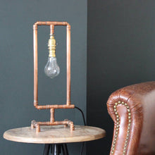 Load image into Gallery viewer, Copper Pipe Lamp with Edison Bulb 'Rectangle'