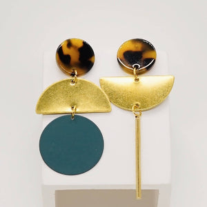 Mismatched Statement Colour and Brass Earrings