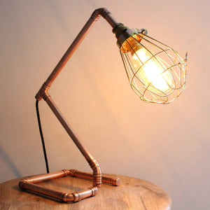 Copper Pipe Table Lamp with Edison Bulb 'Laura'