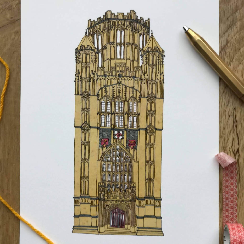 Wills Memorial Tower, Bristol A4 Print