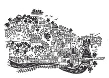 Load image into Gallery viewer, Mini City of Bath - Gold - lino cut print picture