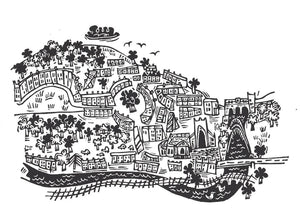 Mini City of Bath - Gold - lino cut print picture