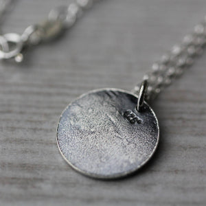 Sterling silver full moon necklace