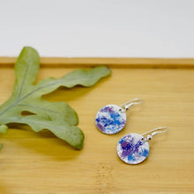 Load image into Gallery viewer, Blues, Purples and White Enamel Earrings