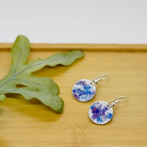Blues, Purples and White Enamel Earrings