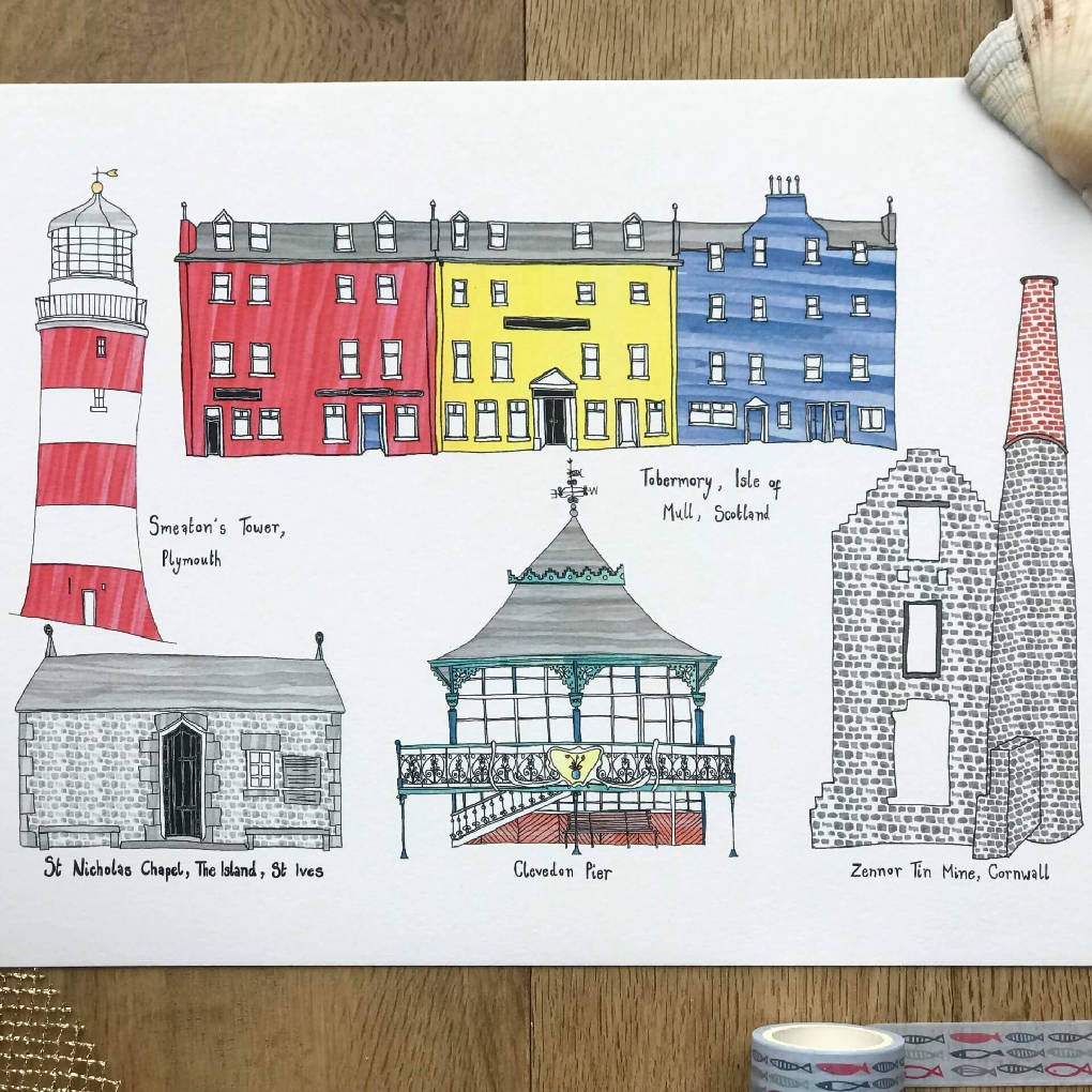 Great British Seaside A4 Print