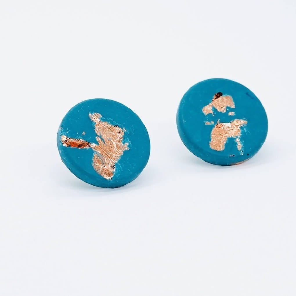 Copper Leaf and Jesmonite Earrings