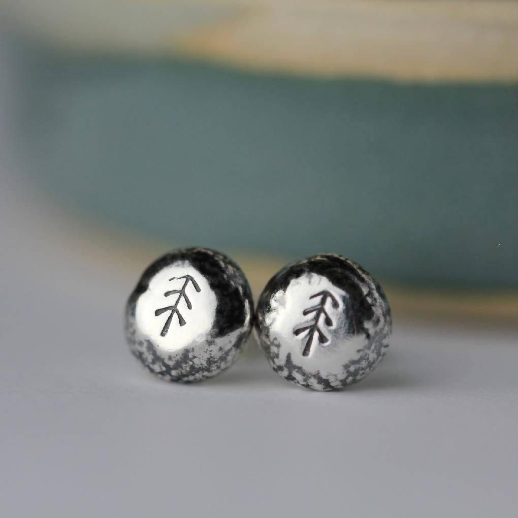 Sterling Silver Pebble Stud Earrings - Tree Design