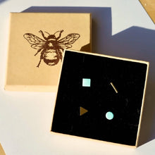 Load image into Gallery viewer, Mismatched Enamel and Brass Geometric Studs