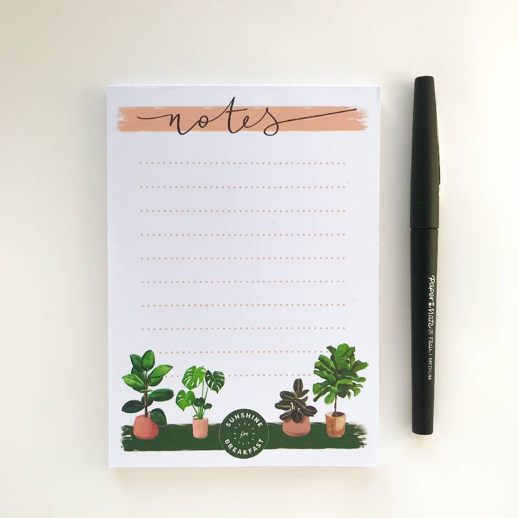 A6 House Plants Notepad
