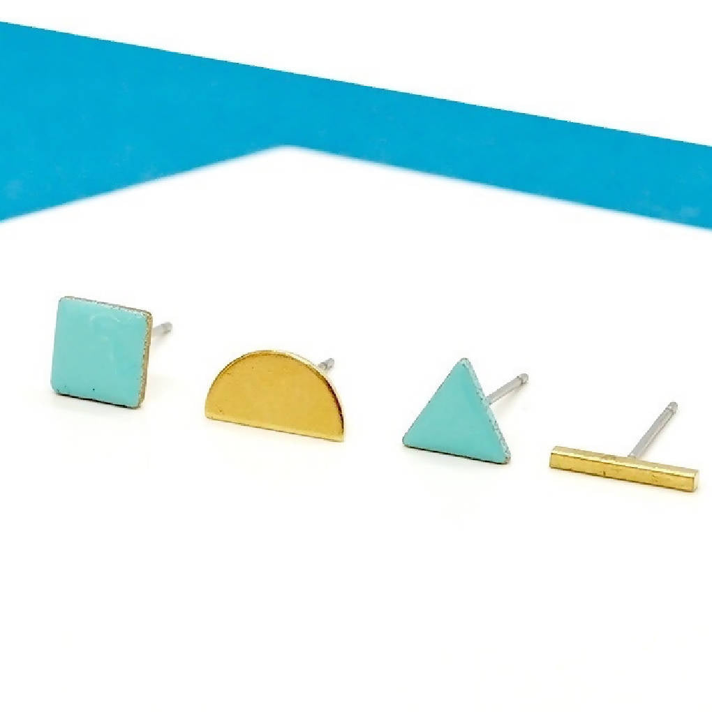 Mismatched Enamel and Brass Geometric Studs