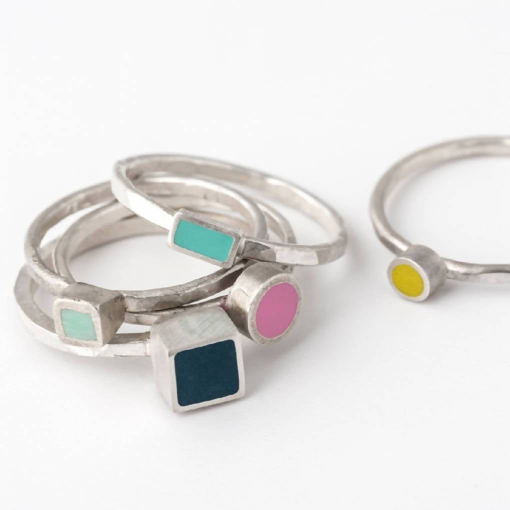 Colour Dot Stacking Ring with Small Circle Setting