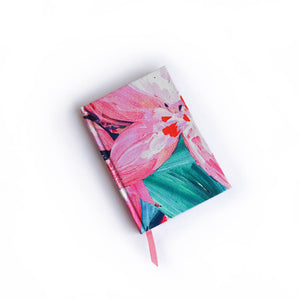 Pink Floral Mini Lined Silk Notebook