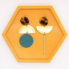 Load image into Gallery viewer, Mismatched Statement Colour and Brass Earrings