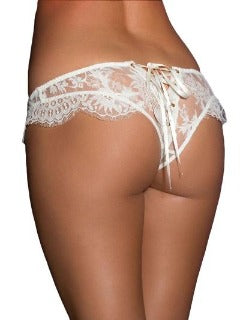 This Is All You Need To Get It Going ! Pure white corset style panty with soft lace design. Fits sizes small to xlarge.   BUY NOW with PINKKITTY Lingerie - House Of Toys - Be Part Of The Revolution!