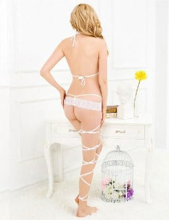 I'm Ready To Get Tied Up Baby! White Body Wrap Straps with panty. One size fits size small to medium. Large size fits size large to xlarge. BUY NOW with PINKKITTY Lingerie - House Of Toys - Be Part Of The Revolution!