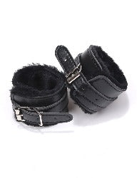 Black Fur Padded Restraint Cuffs