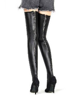 Wear These When Clubbing ! Black faux leather thigh hi stockings with back zipper. One Size. BUY NOW with PINKKITTY Lingerie - House Of Toys - Be Part Of The Revolution!