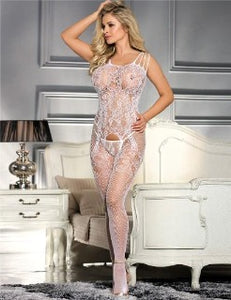 Designer Bodysuit with white lace and fishnet design. With open crotch. One Size fits small to xlarge. White elegance with easy access. BUY NOW with PINKKITTY Lingerie - House Of Toys - Be Part Of The Revolution!