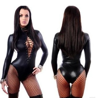 Faux Designer Bodysuit with open chest and sexy sleeves. Fits sizes medium / large. Be the Dominant one. Take control and have some fun. BUY NOW with PINKKITTY Lingerie - House Of Toys - Be Part Of The Revolution!