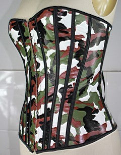 Army Corset Camouflage design corset in vinyl. Includes matching g-string. Play hide and seek with your lover.