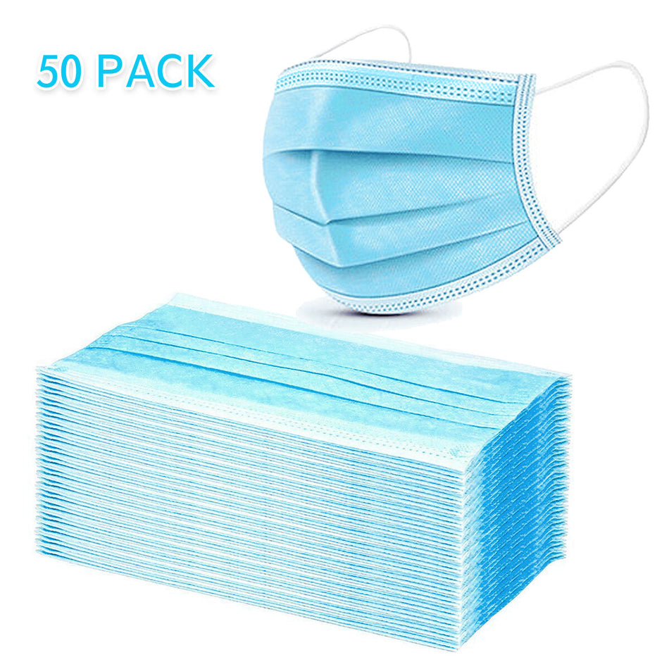 50Pcs Disposable Medical Mouth Face Mask 3-layer Respirator Masks Dust-Proof Personal Protection - ZellaMall