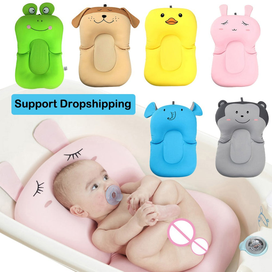 Portable Baby Shower Air Cushion Bed Babies Infant Baby Bath Pad Non Slip Bathtub Mat Newborn Baby Safety Security Bath Seat|Baby Tubs| - ZellaMall