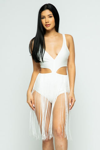 Dancing Queen Fringe One Piece (White)