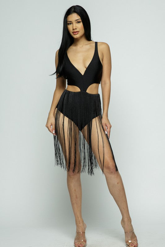Dancing Queen Fringe One Piece (Black)