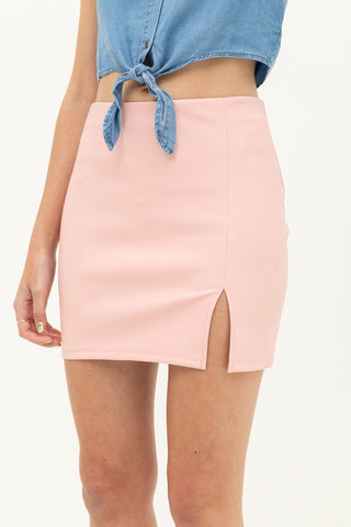 Zoey Leather Side Slit Short Skirt (Pink)