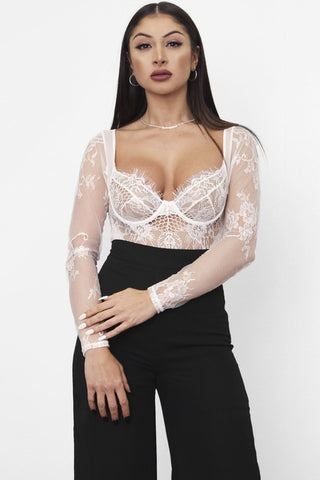 Tempted Lace Bodysuit (White)