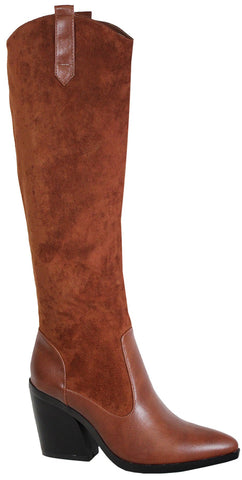 Elise Pointed Toe Stacked Heel Booties (Rust)