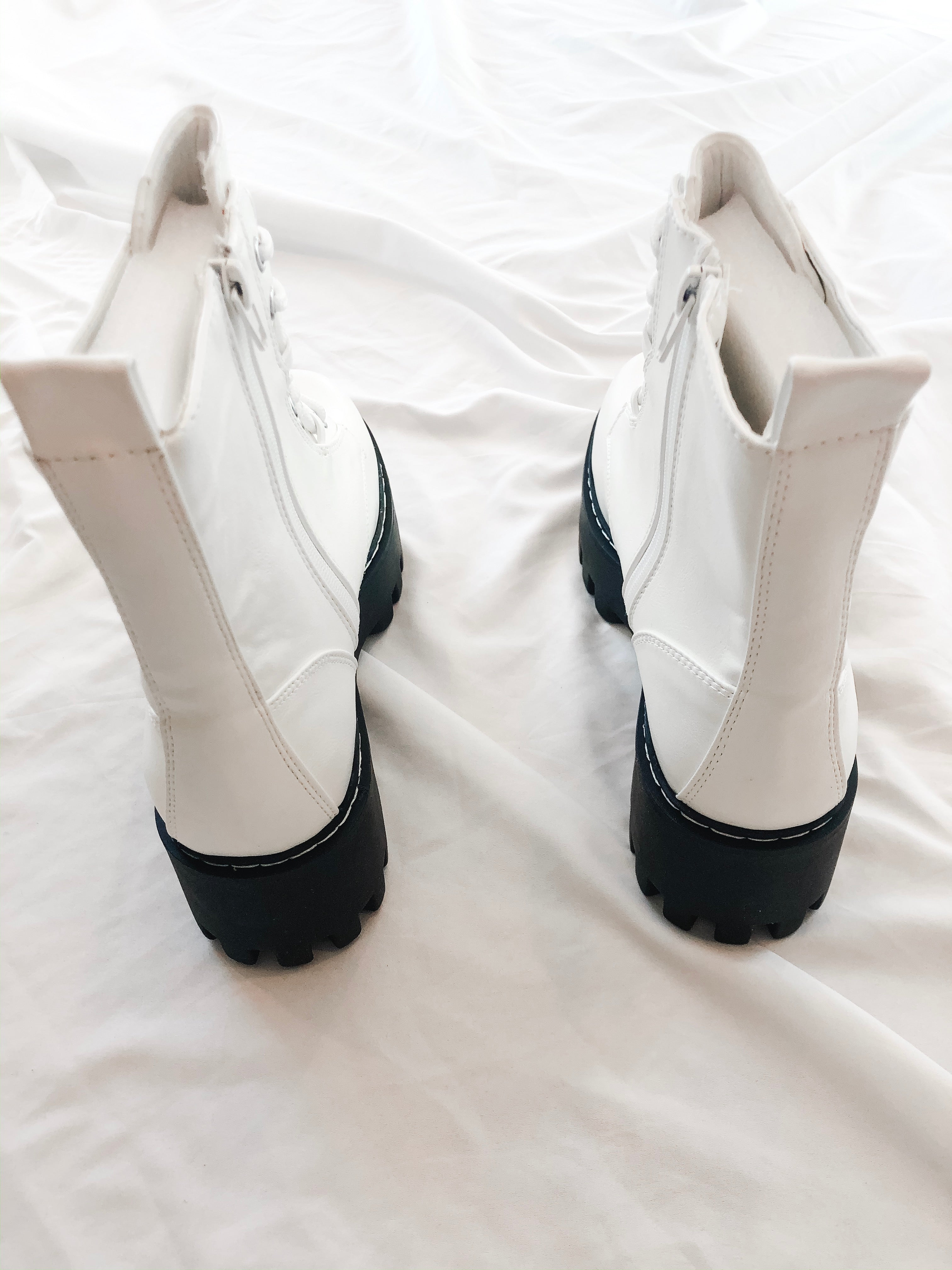 Lost In Time Stacked Combat Bootie (White)