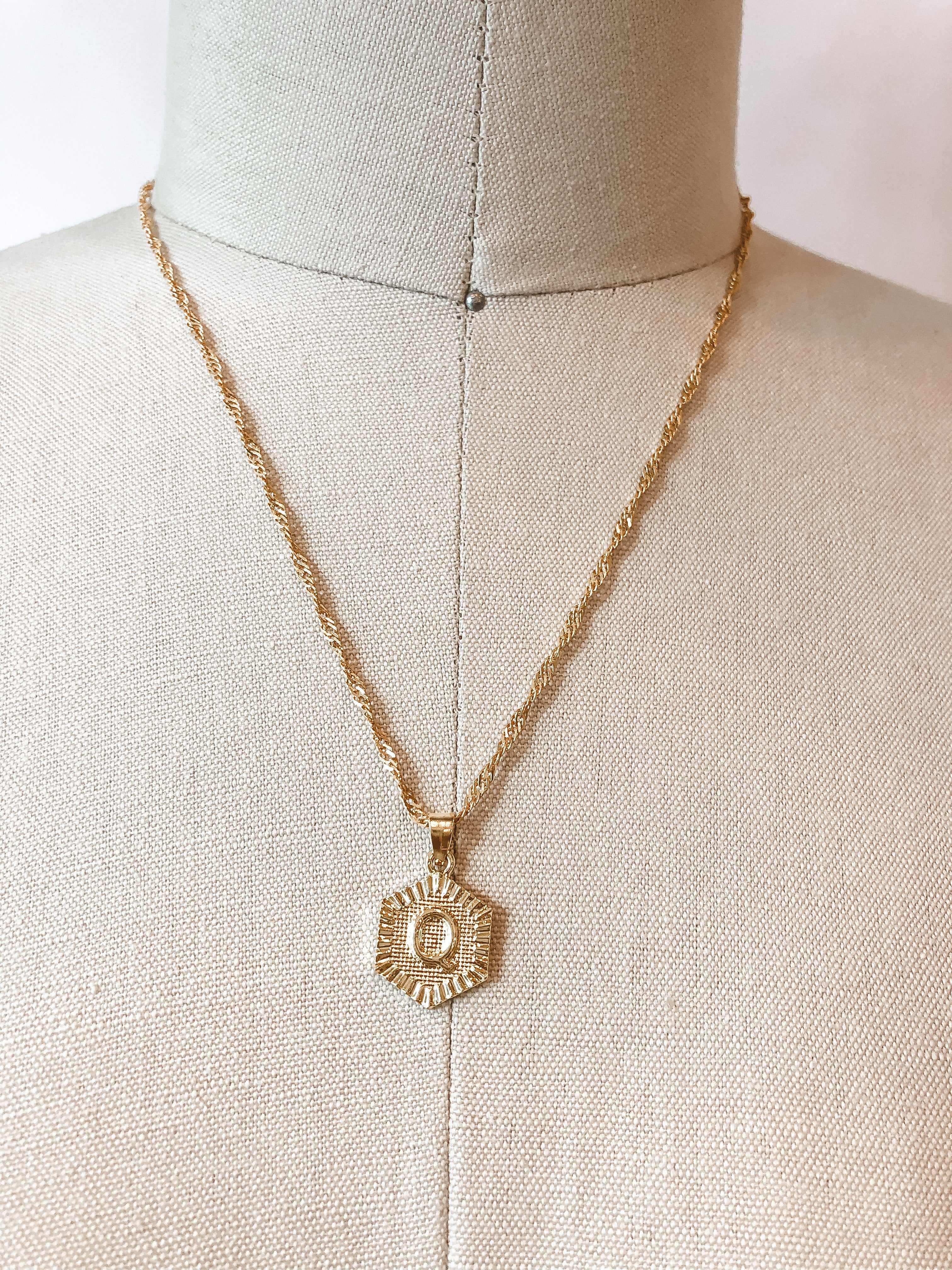 Hexagon Initial Pendant Necklace