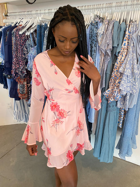 Kelsey Pink Wrap Dress