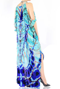 Cold shoulder Kaftan Aqua Blue