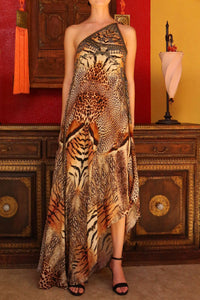 Orange Infinity Dress in Animal Print